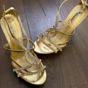 "Delicacy Gold Rhinestones 3"" Heels"